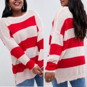 ASOS Glamorous Curve Loose Knit Stripe Sweater 24